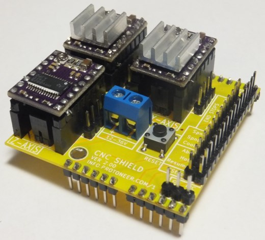 Arduino cnc shield pololu stepper drivers installed